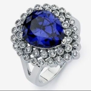 Jewelry - Blue TANZANITE Pear & Round Cluster CZ Ring